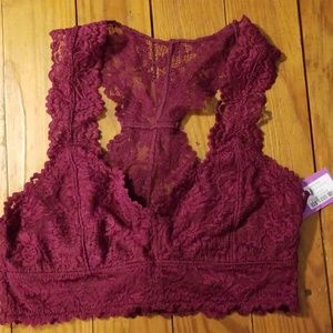NWOT Anemone lace lined racerback bralette